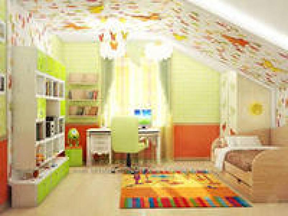 Дизайны детских комнат на мансарде